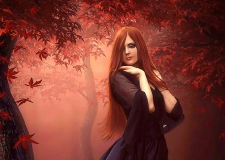 Autumn Days - fall season, autumn, redhead, colors, love four seasons, attractions in dreams, creative pre-made, digital art, woman, leaves, fantasy, photomanipulation, weird things people wear, forests