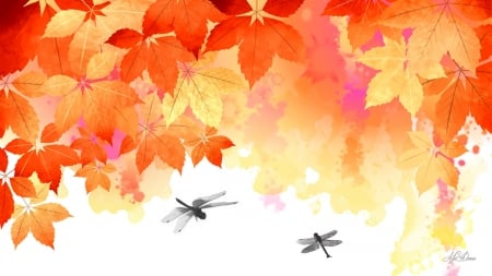 Watercolor Autumn - fall, autumn, orange, maple, yellow, leaves, gold, dragonflies, Firefox Persona theme