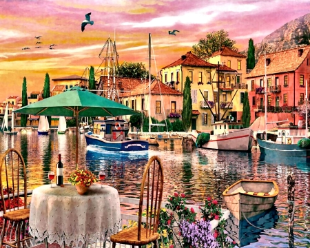 Sunset Harbor F - art, water, illustration, cityscape, scenery, boats, stores, wide screen, harbor, beautiful, shops, architecture, artwork, painting