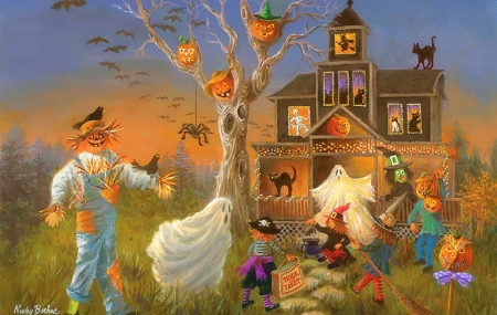 Spooky Halloween - fall season, autumn, crows, holiday, halloween, houses, love four seasons, scarecrow, attractions in dreams, paintings, spooky, cats, pumpkins