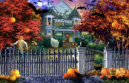 Halloween House - fall season, autumn, bats, crows, holiday, halloween, houses, haunted house, love four seasons, scarecrow, attractions in dreams, paintings, spooky, cats, pumpkins
