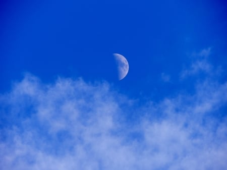 October Moon - Moon, Space, Clouds, Photography, Sky