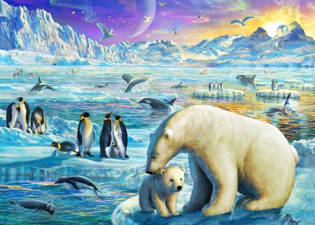 :) - art, luminos, penguin, winter, antartica, fantasy, adrian chesterman, cub, polar bear