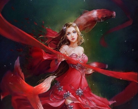 Zodiac ~ Pisces - red, frumusete, luminos, fish, zodiac, koi, vara, fantasy, pesti, girl, pisces, summer, asian