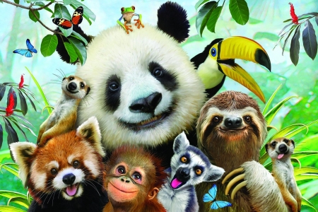 Selfie - luminos, bear, toucan, selfie, tongue, animal, panda, cute, monkey, red panda, fantasy, bird, lemur, funny, howard robinson