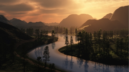 Winding River - morning, forest, river, dawn, browns, Firefox Persona theme, sunset, mountains, trees