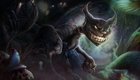 Dark Cheshire - fantasy, luminos, omrikoresh, dark cheshire, cat, pisica