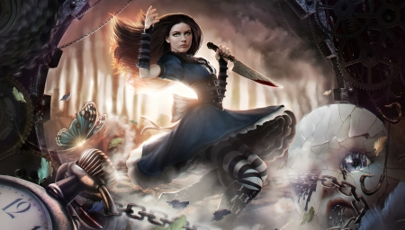 Flying on wings of steam - alice madness, fantasy, omrikoresh, girl, dark, game, knife