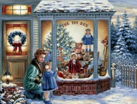 Christmas Scene - Dolls, Christmas, Little Girl, Toys, Window, Abstract, Store, Mother