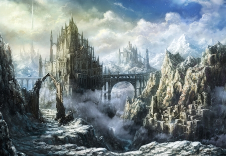 Castle - ruin, manga, castle, luminos, fantasy, palace, tomaknights, anime