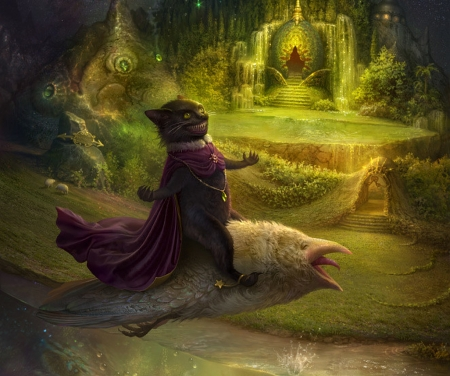 Cheshire cat fantasy - demiart birthday, luminos, fish, cornacchia art, black, cat, animal, fantasy, green, purple, cheshire, flying, pisica