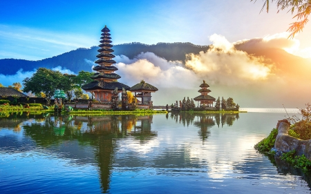 Temple In Bali Lakes Nature Background Wallpapers On
