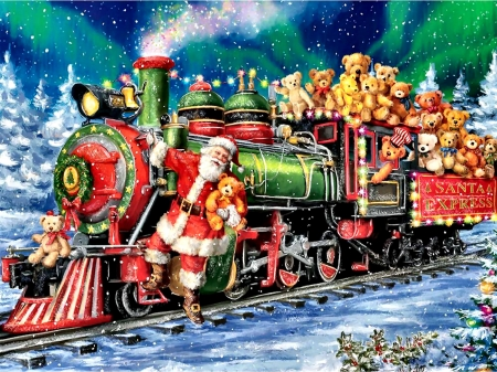 Teddy Bear Train F1 - locomotive, December, beautiful, illustration, artwork, teddy bears, train, painting, wide screen, art, railroad, holiday, Santa, winter, engine, snow, occasion, tracks