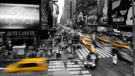 Rush hour - black white, yellow, cabs, abstract, corner, photography, city, New York, crossing, urban, taxi, pedestrians, intersection, street