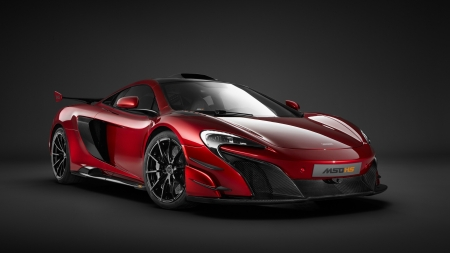 McLaren MSO HS - cars, mclaren, McLaren MSO HS, red cars, vehicles, front view, dark background