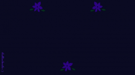 Three Flower Wall - almost black, simp1e, dark, flower, flowers, deep purple, violet, abstract