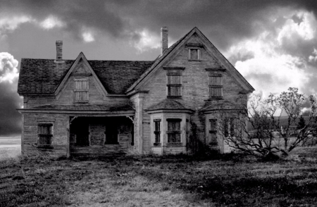 Scary House - Black and White, Scary, Photography, House, Old Scary House