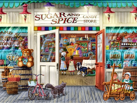Sugar and Spice F - architecture, beautiful, illustration, artwork, stores, canine, teddy bears, painting, wide screen, little girl, shops, scenery, art, cityscape, pets, feline, cats, dogs