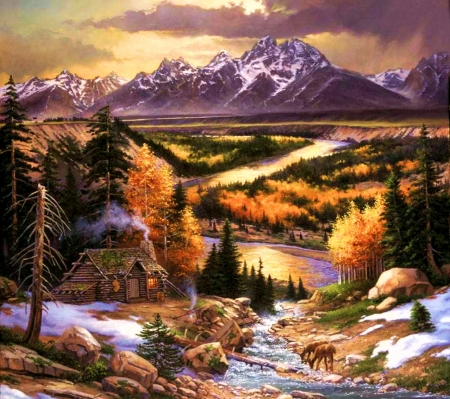 Snake River Cabin with First Snow - autumn, wyoming, painting, sunset, artwork, grand tetons, landscape, deer