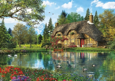 Cottage by The Lake - water, scenic, cottage, painting, ducks, flowers, lake, swans
