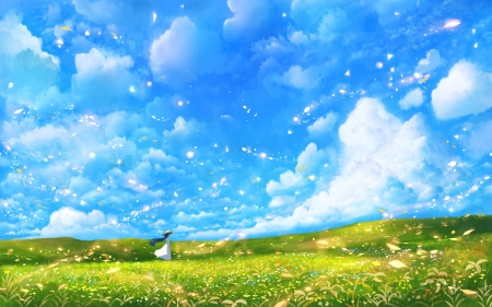 After the storm - bou nin, storm, blue, wind, anime, cloud, manga, sky, green, girl, luminos, summer
