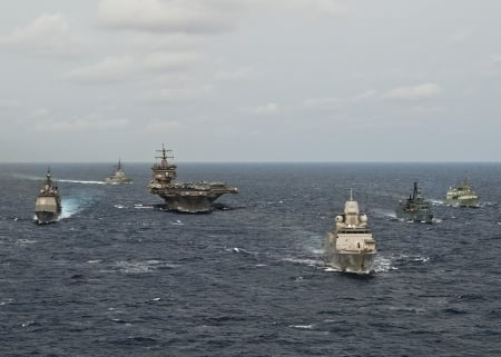 WORLD OF WARSHIPS Carrie  Strike Group 12 Standing NATO Maritime Group 1 PASSEX March 2012. - carier, two frigates, cruiser, destroyer