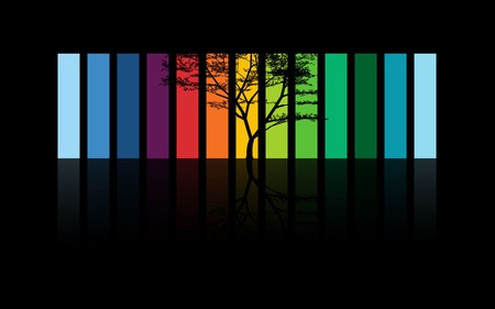as a rainbow - colored, colorful, 3d and cg, abstract, tree, dark, red, rainbow, orange, color, blue, colors, 3d, yellow, purple, green, black