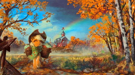 The last apples of autumn - last, pretty, fall, art, autumn, apples, rainbow, church, sweet, cute, basket, funny