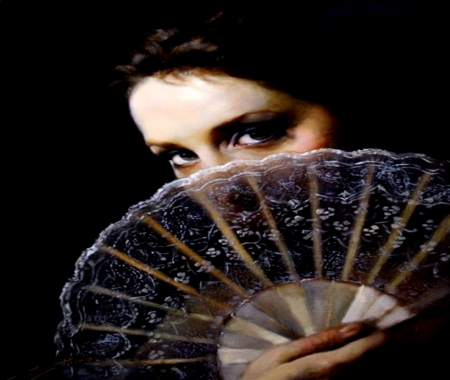 Italian Woman With Fan - Female, Models, People, Hand Fan, Woman, Italian