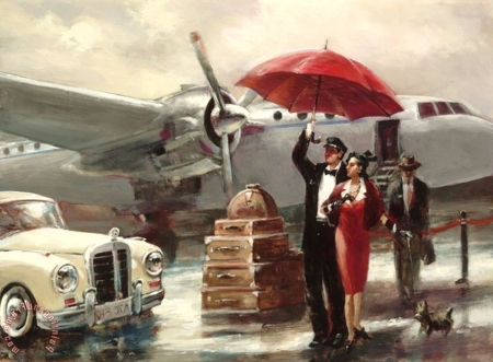 at the airport - art, paintings, cool, people, airport