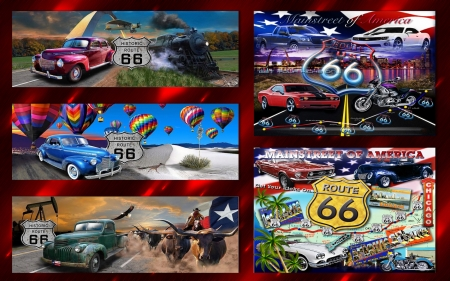 Route 66 - cars, route 66, cattle, trains, motorbikes, balloons, planes