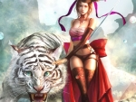 Girl and White Tiger