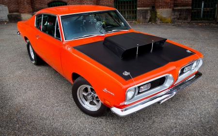 1969 Plymouth Barracuda - cars, 1969, vehicles, front view, orange cars, plymouth barracuda, barracuda