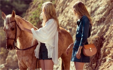 Girls and horse - girl, model, brown, purse, bag, horse, woman, animal