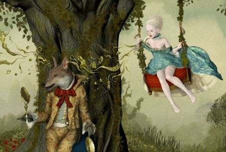 The wolf - lobo, red, tree, fantasy, girl, swing, ray caesar, blue