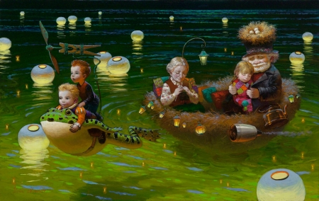 Summer dream - lantern, luminos, children, lake, lights, grandmother, frog, boat, water, green, painting, summer, pictura, dream, victor nizovtsev, grandfather
