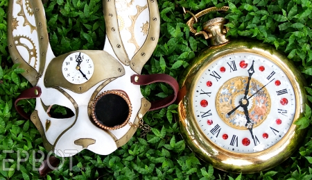 I'm Late I'm Late - Steampunk Mask, Clock, Time, Rabbit