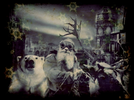 Twas the Night Before Christmas.... - Polar Bear, Steampunk, Night time, Deers, Santa, Fantasy