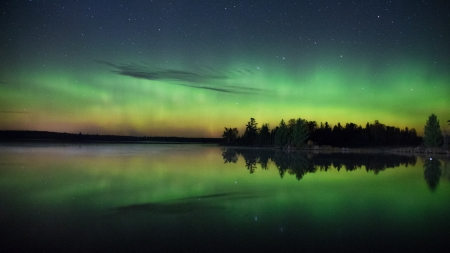 Northern Lights & Starry Sky - Stars, Auroras, Sky, Northern Lights, Rivers, Nature