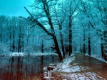 Winter Blue Ice Mountain River