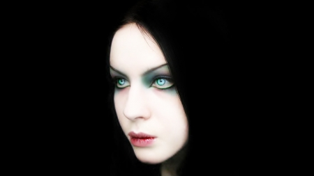Gothic Woman - goth, gothic, beauty, aua eyes, woman, hooded