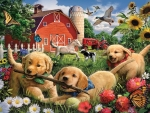 Three Puppies Playing on a Farm
