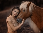 brunette with a horse