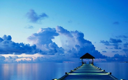 Blue Ocean - ocean, pier, nature, clouds, sky, lights, blue