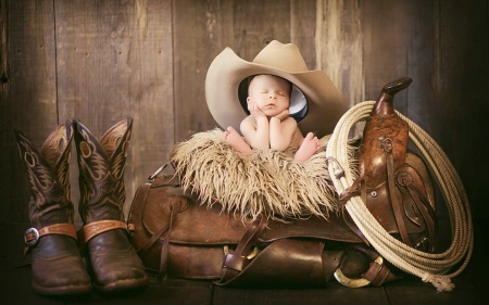 Baby Cowboy - baby, sweet, boots, saddle, adorable, Cowboy hat, photography, brown, lasso, cowboy, lovable, infant, portrait