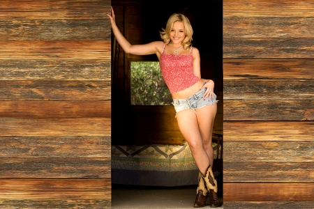 Jake's Bunkhouse Door . . - female, models, cowgirl, ranch, women, bunkhouse, Alexis Texas, girls, blondes, western, style