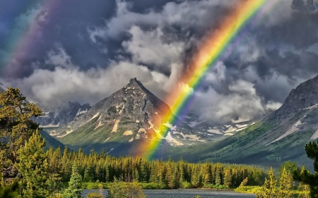 Rainbow Above the Forest - mountain, forest, nature, rainbow, trees, clouds