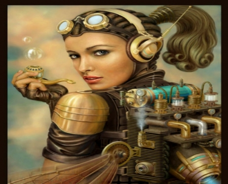 Steampunk Woman - Glasses, Steampunk, Abstract, Woman, Hats