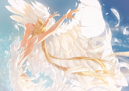 White Swan - pretty, blond, divine, beautiful, elegant, sweet, nice, twin tail, anime, sailor moon, beauty, anime girl, feathers, gorgeous, sailormoon, usagi, female, wings, lovely, twintail, blonde, blonde hair, twintails, twin tails, princess serenity, blond hair, girl, serenity, dance, white, princess
