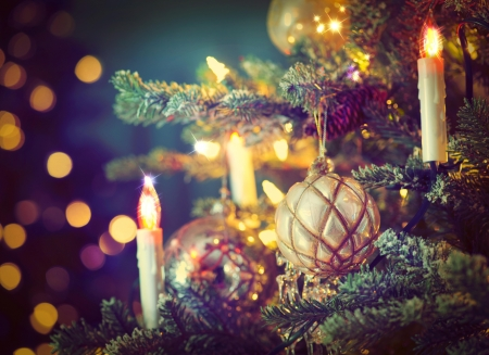 Christmas tree - spruce, bokeh, new year, holiday, candles, balls, branches, toys
